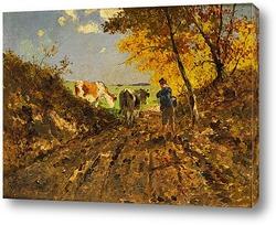 Картина Осенний пейзаж с коровами