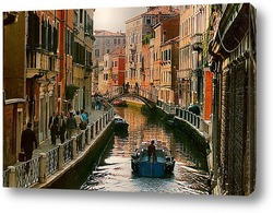 Romantic view of gondola in Venice canal