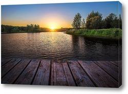 Постер Закат на озере