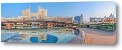 Постер Астана, утренняя панорама с отражением архитектуры в фонтане