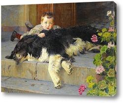 Постер Мальчик с собачкой