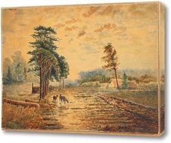 Три оленя возле деревни