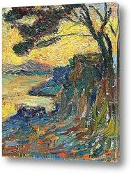 Постер Закат на берегу залива