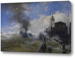 Картина Буксир покидает гавань Остенде при приливе