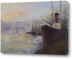 Картина Мост на реке, пароход