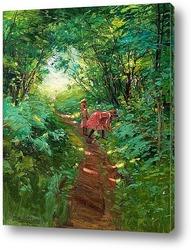 Постер Девочки в лиственном лесу