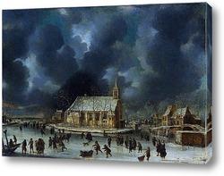 Картина Катание у голландских замков, недалеко от Амстердама
