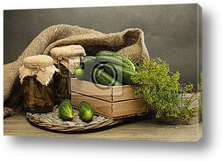 Постер Fresh cucumbers in wooden box, pickles and dill,