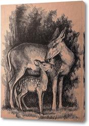 Постер Олени - лань с олененком