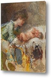 Картина Мать и ребенок с собакой
