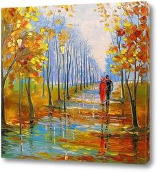 Картина Прогулка в парке после дождя