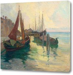 Постер Рыбацкие лодки в гавани