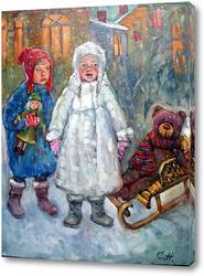 Картина Девочки на снегу
