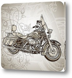 Classic motorcycle & floral ornament