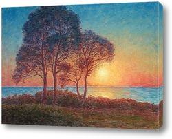 Пейзаж с заходящего солнца