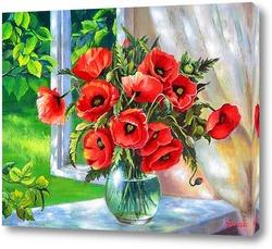 Картина Маки на окне