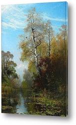 Картина Озеро осенью