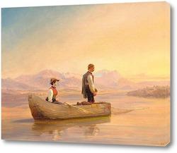 Картина Пара рыбаков на озере на закате. 1867.