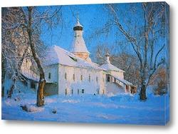 Постер Зимний пейзаж с церковью.