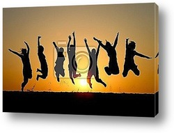 Постер Silhouette of friends jumping in sunset