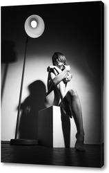 Постер Портрет девушки с гирляндойбокалом