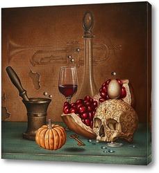 Картина Натюрморт с изящным черепом и исчезающей трубой