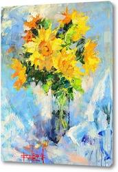 Постер Солнце на подсолнухах