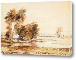 Постер Река и деревья