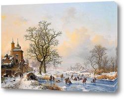 Зимний пейзаж, мельница