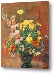 Натюрморт с тюльпанами и ветками ивы