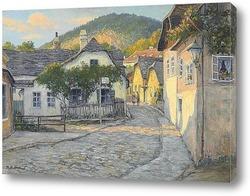 Средневековые улицы в итальянском  городе  на холме, Ассизи