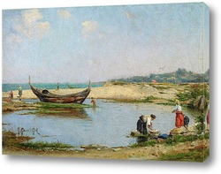Картина Женщины в бухте недалеко от пляжа
