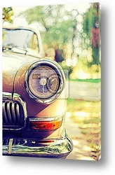Постер Close-up photo of retro car headlights