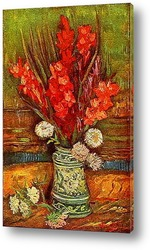 Натюрморт, ваза с ромашками и маками
