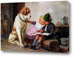 Картина Дети и собака