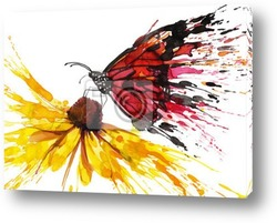 Постер Бабочках на цветах
