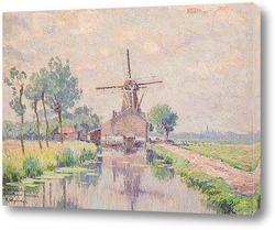 Картина Вид фермы и мельницы в Кралинген
