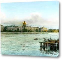 Постер Санкт-Петербург. Панорамный вид через Неву в сторону Исаакиевского собора