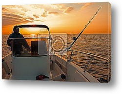 Silhouette fisherman are standing on fishing boat