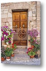Постер Деревянные двери с цветами