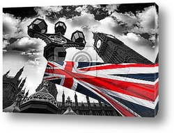 Big Ben with city buses and flag of England, London