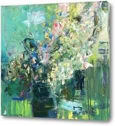 Постер цветы на весеннем окне