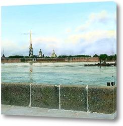Постер Санкт-Петербург. Панорамный вид на Петропавловскую крепость,через Неву