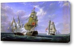 Морской бой между французским фрегатом Канонир и английским кора