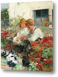 Постер Дети, кормящие Кроликов
