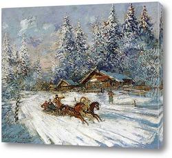 Картина Тройка лошадей скачущая по снегу