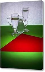 Постер Натюрморт с красной фигурой на зелёном столе
