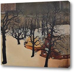 Постер Фруктовый сад под снегом.