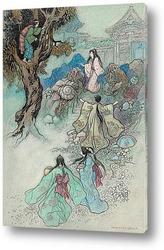 Медсестра, Зеленая ива и другие книжные иллюстрации японских ска