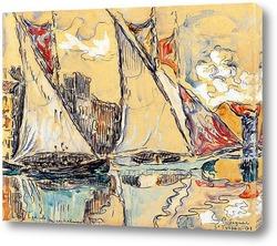 Картина Сен-Тропе,парусники